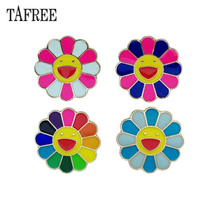 TAFREE Japanese Murakami Takashi seven color sunflower dripping oil brooch metal face Lapel Pins cartoon Badge Jewelry For Child on Sale