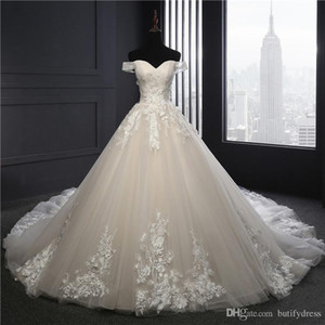 Wholesale Sexy Wedding Dresses Champagne Brides Ball Gown with Long Train Mermaid Brides Dresses Evning Dresses Chinese Factory Man Made
