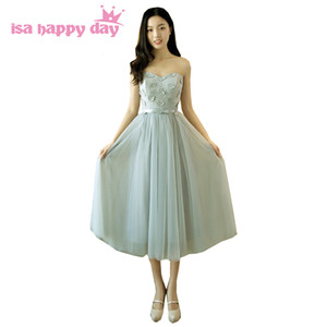 Wholesale tulle bridemaids new arrival formal dresses short lace strapless gray bow xl size party dress bridesmaid girls