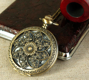 Wholesale Pocket Watch Necklace Chain Hollow Flower Clock Mens Bronze Case Watch Vintage Male Watches for Men Women Gifts
