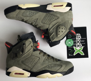 Hottest Authentic Travis Scotts x Air 6 Cactus Jack Medium Olive GLOW IN THE DARK Army Green Suede 3M 006jordan Basketball Shoes CN1084-200