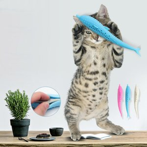Wholesale Pet Cat Fish Shape Toothbrush with Catnip Eco Friendly Silicone Molar Stick Teeth Cleaning Toy for Cats