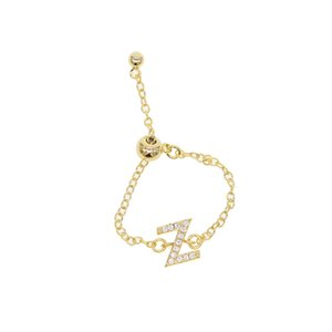 Wholesale 2018 NEW slider chain Alphabet Ring N Z Initial Letter Name Ring Charm Jewelry Fashion Love cute Gift New adjust tiny