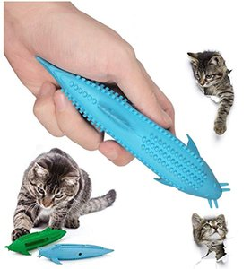 Cats Toys Interactive Cat Toothbrush Chew Toy Refillable Fish Shape Toothbrush Pets Silicone Catnip Molar Teeth Cleaning Chew Stick M992F
