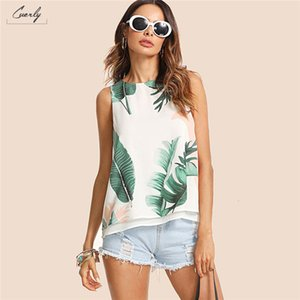 Wholesale Vacation Bohemian Multicolor Women Tank Top Streetwear Summer Print High Low Round Neck Boho Tropical Top