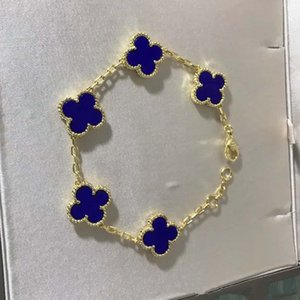 Wholesale Luxurious quality brand name flower with five flower nature stone pendant bracelet with rhombus clasp for women wedding gift jewelry
