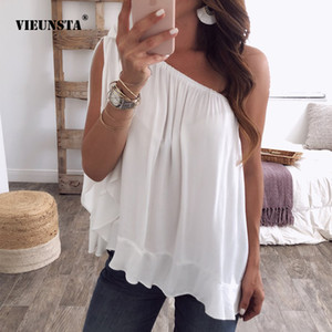 Wholesale Women Sexy Off One Shoulder Chiffon Blouses Summer Skew Collar Pleated Beach Blouse Shirt Solid Sleeveless Blusa tops Plus Size