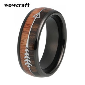 Wholesale Mens Wedding Bands Tungsten Carbide Ring Black Plated Nature Wood Stainless Steel Arrow Inlay Domed Polished Shiny Size 5-13
