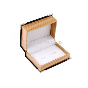 50pcs lot Top Quality Faux Leather Wood Grain Cuff Button Box Cuff Link Packaging Box Gift Box Cufflink Boxes