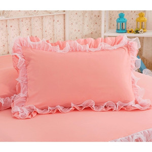 Wholesale 2pcs Solid Color Pillowcase Handmade Ruffle Wrinkle Pillow Cover Textile Home Bedding Decorative Pillowcase With Lace For Girl T8190621