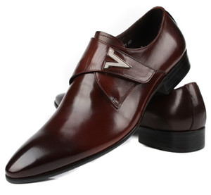 Wholesale New Brown Tan Black Dress Shoes Mens Business Shoes Genuine Leather Prom Shoes Boys Wedding Groom
