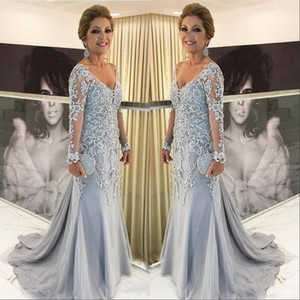 Wholesale tulle mother dresses resale online - New Arrival Mermaid Plus Size Mother Of The Bride Dresses V Neck Long Sleeves Lace Appliques Tulle Beads Sweep Train Party Evening Gowns