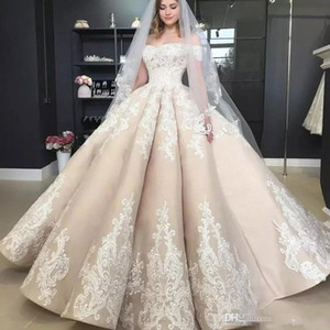 Wholesale Vintage Puffy Empire Champagne Wedding Dresses Off The Shoulder Applique 2019 Off Shoulder Full length Church Garden Princess Wedding Gown