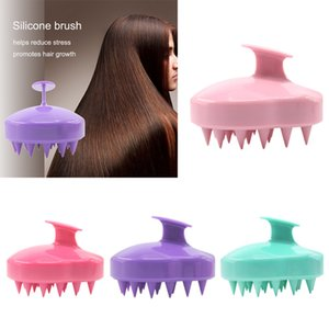 Wholesale 5 Colors Handheld Silicone Scalp Shampoo Massage Brush Washing Shower Hair Comb Mini Head Meridian Massage Comb