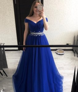 Elegant A Line Evening Dress Formal Women Dresses Party Off the Shouder V Neck Tulle Royal Blue Plus Size Custom Long Party Gown on Sale
