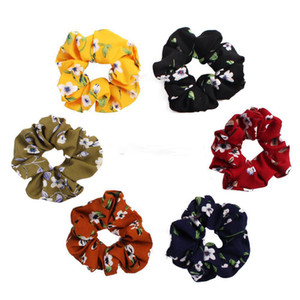 Summer Women Girls Rose Floral Color Chiffon Cloth Elastic Ring Hair Ties Accessories Ponytail Holder Hairbands Rubber Band Scrunchies on Sale