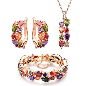 Wholesale Luxury Design Jewelry Sets Women Monalisa Color Zircon Ear-button Necklace Bracelet Colorful 18k Rose Gold Jewelry 3piec Set