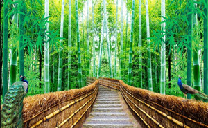 Wholesale 3d bamboo forest trail landscape background wall painting modern living room wallpapers