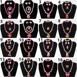 New 10pcs lot Children's Jewelry Set Chain Plastic Cartoon Set Four pieces Jewelry Set Bead Bracelet Earrings Ring Necklace Jewelry