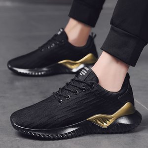 china athletischer sportschuh großhandel-Neue Art und Weise Herren Laufschuh Triple Black White Gold Jogging Geht Herren Trainer Schuhe athletischen Sport Turnschuh Made in China