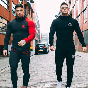 Wholesale Mens Running Sportswear Sets Sweatshirt Sweatpants Gym Fitness Bodybuilding Hoodies Tops Pants Male Jogging Workout Tracksuits