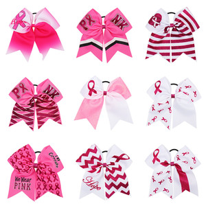 Wholesale Large Cheer Bows With Elastic Band Breast Cancer Awareness Glitter Ribbon Hair Bows For Girls HairBands Girls Hair Accessories