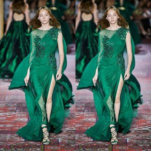 Zuhair Murad 2020 Sexy Dark Green Prom Dresses Long Sleeve Crew Neck Chiffon Sweep Train Formal Occasion Prom Event Engagement Dress on Sale