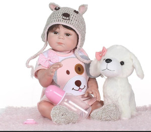 Wholesale New Newborn Baby Doll reborn cm Inch Reborn Baby girl Real Life Living Doll Toys Soft Silicone Open Eyes little puppy