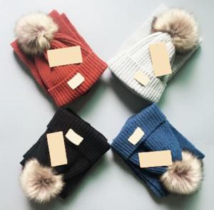 Hot fashion brand Baby Girls Winter Hat Scarf high quality warm scarf hat suit full knit hat Children Hats Kids Warm Beanie Suits