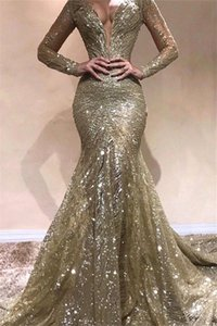 Elegant Long Sleeves Lace Mermaid Prom Dresseses 2020 V Neck Ruched Sweep Train Red Carpet Pageant Evening Gowns BC2728 on Sale