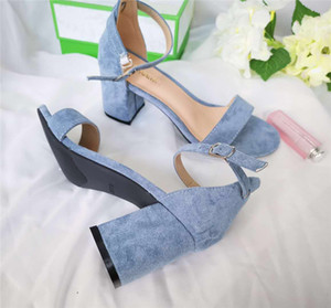 Wholesale New Brand Summer Ladies Style chunky heels Micro Suede Black Women s Sandal Party Sexy Fashion Shoes