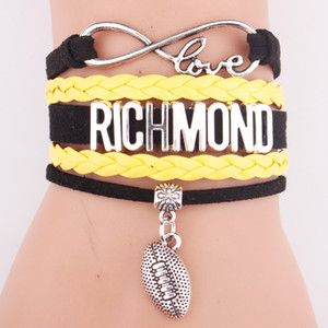 Wholesale Manual leather accessories popular baseball team letter richmond bracelets