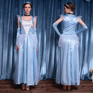 Wholesale Elegant Skye Blue Satin Cosplay Party Dresses 2019 WIth Long Sleeves Plus Size In Stock Formal Evening Occasion Wears For Adult