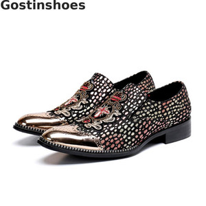 Wholesale Fashion Shoes Polka Dots Printed Embroider Genuine Leather Men Casual Shoes Slip On Metal Captoe Men Leisure Loafers