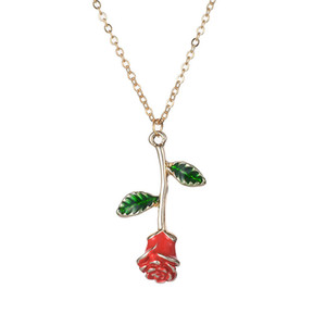 Wholesale Exquisite Colored Glaze Rose Flower Pendant Necklace Environmental Friendly Plating Alloy Silver Gold Plant Women Lover Anniversary Gift