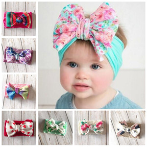 Wholesale Baby Hairband Girls Floral Printed Headband Kids Striped nylon Hairband Flower print Hair Bow Bohemia Hair Band Kids Hair Accessories LT1042