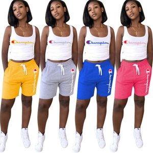 Wholesale women Champions suit Sports two piece set yoga outfits sleeveless t shirt shorts crop top casual shorts sportswear yoga plus size s xl