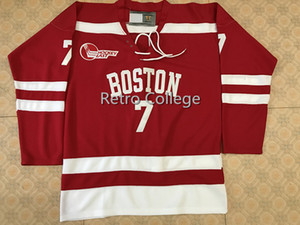 Boston University #7 Charlie McAvoy Red Ice Hockey Jersey Mens Embroidery Stitched Customize any number and name Jerseys on Sale