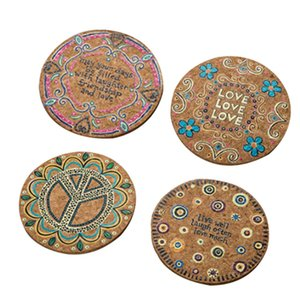Wholesale 4Pcs Natural Cork Round Cup Mat Drink Coasters Heat Insulation Patterned Pot Holder Mats for Coffee Table Tabletop Mixed