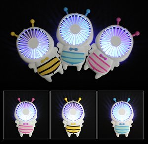 Wholesale Handy c Mini Bee Handle Charging Electric Fans Thin Handheld Portable Luminous Night Light For Home Office Gifts Colors