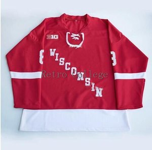 Wisconsin Badgers 17 Ryan McDonagh 8 Joe Pavelski Red College Men's RETRO Hockey Jersey Embroidery Stitched Customize any number and name on Sale