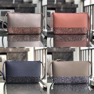 Wholesale Women KS Sequin One Shoulder Bag Glitter Patchwork Leather Handbags Solid Color Belt Crossbody Bag Fashion Zipper Messenger Bag Totes C41703