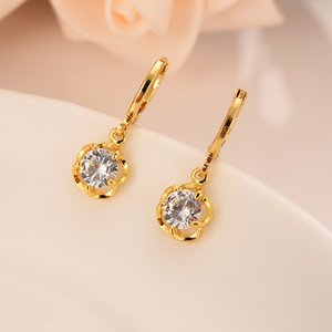Wholesale Lovely karat gold plated flower wave diamond encrusted personality simple dubai Indian ball jewelry earrings wedding engagement gift
