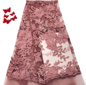 Wholesale Dubai High Quality Latest Mesh African Lace Fabrics Pink Textile Lace Fabric For Garment Dress RF2718