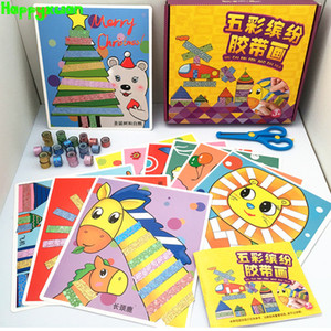 Wholesale Happyxuan box Kids Christmas Diy Cute Tape Sticker Craft Kit Material Scrapbooking Kindergarten Educative Decorative Toy J190521