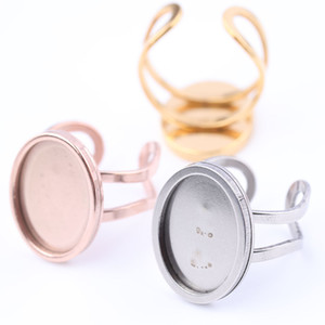 Wholesale Stainless Steel Oval Ring Blanks Rose gold plated x18mm cabochon base settings diy Bezels for Rings making