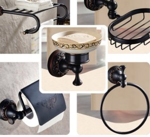 Wholesale hardware bathroom accessories resale online - Modern Black Wall Mounted Bath Hardware Set Brass Clothes Hooks Toilet Paper Holder Towel Bars Bathroom Accessories Set