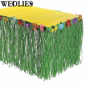 Wholesale Hawaiian Luau Flower Green Grass Table Skirt Outdoor Patio Garden Beach Party Camping Events Decoration Party Favor Supplies