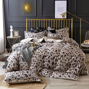 Wholesale OLOEY Leopard tencel bedding set Satin Luxury duvet cover King queen size flowers bed set colorful duvet cover sheet Linens