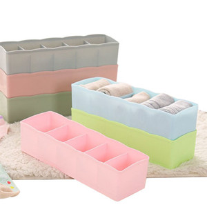 Wholesale Plastic Underwear Organizer Storage Box Bra Socks Drawer Cosmetic Divider Tidy Cells Home Organizers Candy Color